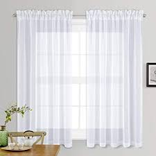 Amazon.com: NICETOWN Sheer White Curtains for Bedroom - Rod Pocket ...