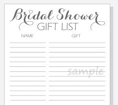 Printable Bridal Shower Gift List Template Diy Bridal Shower Gift List Printable Calligraphy Script