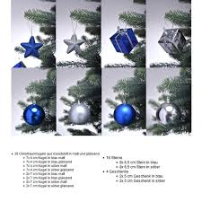 Christbaumschmuck In Blau Silber Weihnachtskugeln Glänzend Und Matt Baumschmuck Weihnachten Deko Anhänger 56 Teiliges Set