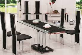 wonderful black glass dining table and 6 chairs dining room horizon round black glass dining table