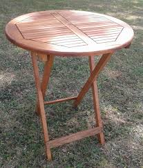 acacia wood folding table 75cm height x 60cm round garden side table new