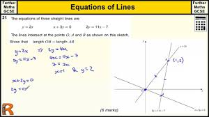 equations of lines simultaneous equations gcse further maths revision exam paper practice help