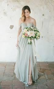 chiffon off shoulder side slit bridesmaid dresses 2017 long