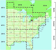 Map Of The Study Area The Grid Of Solid Lines Shows