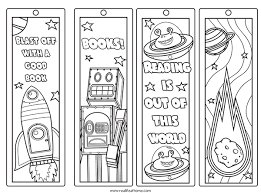 In my house, bookmarks tend to disappear or get damaged really fast. Free Printable Color Your Own Space Bookmarks And Reading Log For Kids