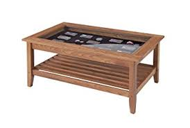 Manchester Wood Glass Top Display Coffee Table   Golden Oak Great Ideas