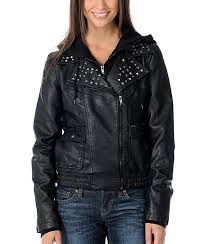 obey jump street black studded faux leather jacket