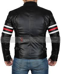boys black motorcycle jacket white and red striped leather jacket