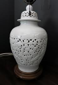 vintage blanc de chine reticulated table lamp stunning 1 of 3only 1 available
