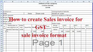 Excel Sales Invoice Template Gst Invoice Using Excel File Sales Invoice Format Proforma Youtube