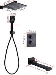 Regendusche Set Thermostat Unterputz Mit Handbrause In Schwarz