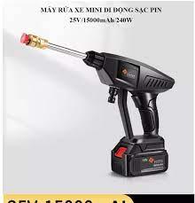 Máy rửa xe mini di động sạc pin tuổi thọ cao 25V/15000mA/240W áp lực nước  30 bar bơm liên tục 40 phút - Bảo hành 06 tháng