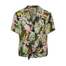 <b>Рубашка короткая с</b> завязками с тропическим принтом рисунок ...