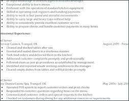 resume job responsibilities examples 46 fantastic server job description resume example