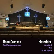 church lighting ideas. neon crosses u0026 black draping church lighting ideas