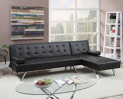 modern black faux leather sectional adjustable sofa bed chaise