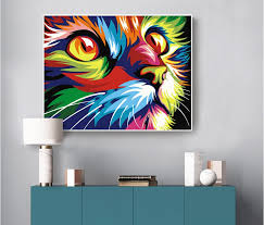 digital diy oil painting by numbers wall decor on canvas oil paint drawing animal home decor