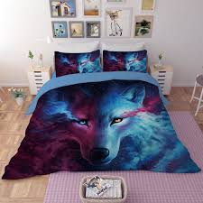 galaxy color painting 3d bedding set wolf print