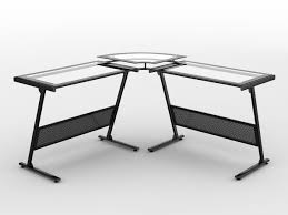 image of z line glass top corner computer desk