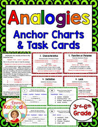 Types Of Analogies Chart Analogies Word Analogies Task Cards And Instructional