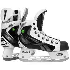 Reebok White K Pump Hockey Player Skates Junior Size 4 D Black Gray Ice Jr