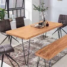 Massiver Esstisch Harlem Akazie Massiv Holz Esszimmertisch Massivholz Mit Design Metall Beinen Holztisch Tisch Esszimmer Küchentisch