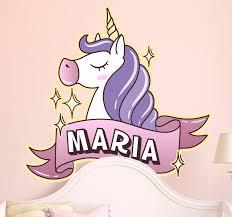 personalised kids name unicorn wall sticker