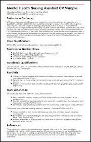 Cv Template For Care Assistant Mental Health Nursing Assistant Cv Sample Myperfectcv