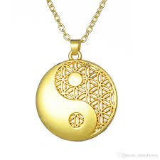 whole silver gold yin yang pendant taoist symbol of balance jewelry flower of life necklaces for man woman cute pendant necklaces diamond heart pendant