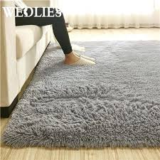 fluffy rug anti skid gy area dining room carpet table bed side floor grey bm
