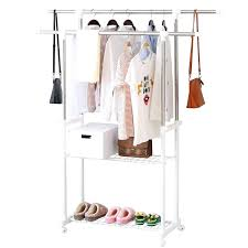 drying clothes rack alpha home double rail garment rack adjule rolling clothes drying rack for hanging clothes 2 tier with middle and bottom shelves
