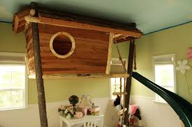 Architecture  Excellent Interior Tree House Design Alongside Dome Treehouse Bedding