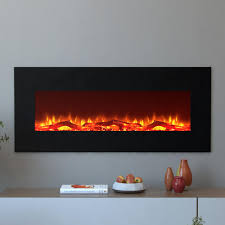 moda flame houston 50 in electric wall mounted fireplace in black