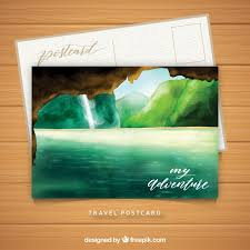 Travel Postcard Template With Watercolor Landscape Vector | Free ...