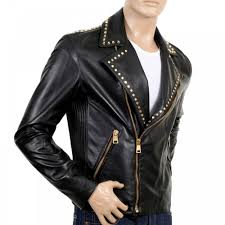 versace jeans mens biker studded leather zipped jacket in black