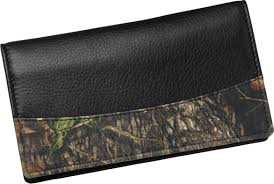 men s mossy oak leather camo checkbook cover