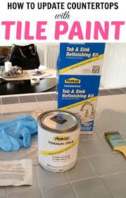 diy spray paint bathroom tiles. how to paint tile countertops! this is so great for outdated kitchens and bathrooms. diy spray bathroom tiles t