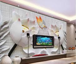 Mode Dekor Heimtextilien Für Schlafzimmer Geprägte Dreidimensionale Lotus Wandbild Tv Wandbild 3d Wallpaper 3d Tapeten Für Tv Kulisse