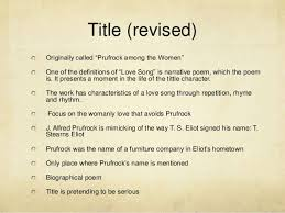 How To Title A Poem The Love Song Of J Alfred Prufrock