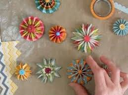 Paper Rosette Flower Making Accordion Flowers Or Rosettes With Chevron Papers Youtube