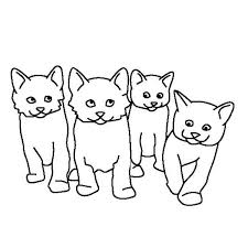 A Kids Drawing Of Four Cute Kitty Cats Coloring Page Kids Play Color
