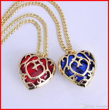whole 4 models the legend of zelda blue red heart container necklace keychain gemstone hollow heart love pendants bag hang key rings 160791 costume