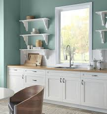 white country kitchen with butcher block. Behr In The Moment A Kitchen With White Country Style Cabinets And Butcher Block Countertop. Info Via Kylie M Interiors E-design Blog. Photo C