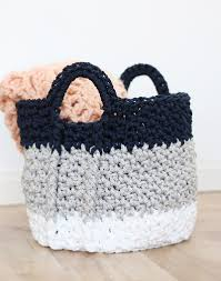 Free Crochet Basket Patterns Classy Large Crochet Basket With Handles Free Crochet Pattern Persia Lou