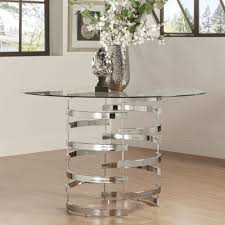 Nova Round Glass Top Vortex Iron Base Dining Table By Inspire Q Nickel Unusual  table Nickel