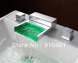 led light widespread chrome brass widespread waterfall basin faucet bathroom sink mixer tap dual handles