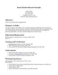 Resume Objective Nursing Student Resume For Study
