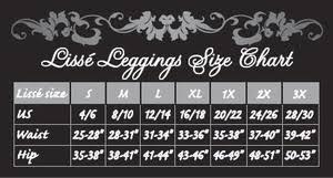 Soldsie Lysse Leggings Size Chart