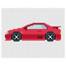 Instant Download Cross Stitch Pattern Red Sports Car Pdf Chart Embroidery Scheme