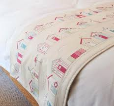 pink beach huts bed runner holiday home